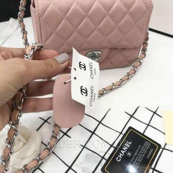 Женская сумка Chanel Mini Flap Pink (8140) реплика