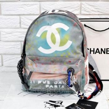 Рюкзак Chanel Graffiti Printed Canvas Backpack (9702) реплика