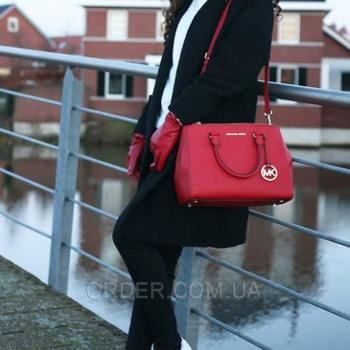 Женская сумка Michael Kors Medium Sutton Red (5500) реплика