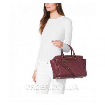 Женская сумка Michael Kors Selma Quilted Large Tote Bag Bordo (5559) реплика
