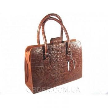 Женская сумка из кожи крокодила River (BMT 212 Cognac)