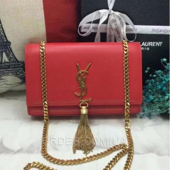 Женская сумка YSL Saint Laurent Tassel Medium Red (7273) реплика