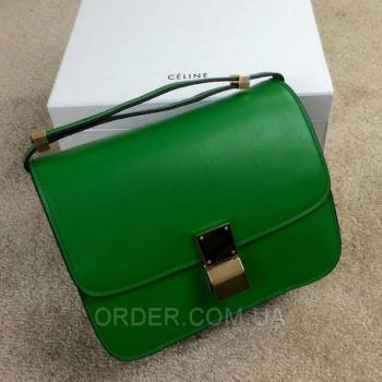 Женская сумка Celine Classic Box Shoulder Bag Green (7330) реплика