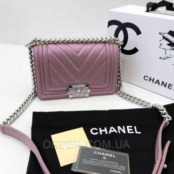Женская сумка Chanel Chevron Boy Lavender Bag (9800) реплика