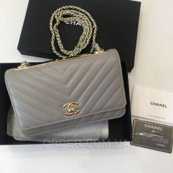 Женская сумка Chanel Chevron Trendy CC WOC Grey (9777) реплика