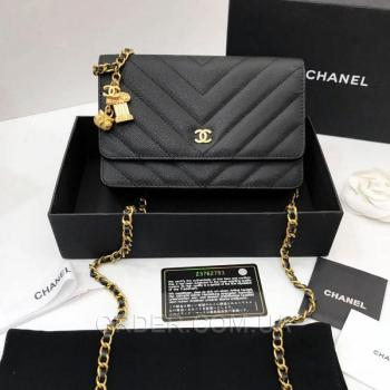 Женская сумка Chanel WOC Chevron Caviar (9773) реплика