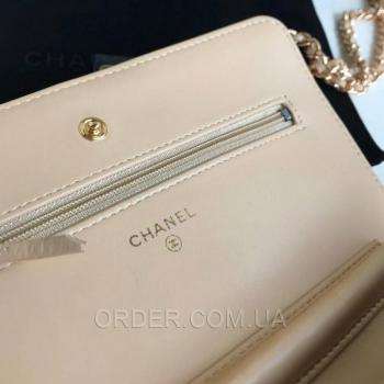Женская сумка Chanel WOC Wallet On Chain Biege (9771) реплика