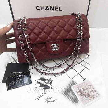 Женская сумка Chanel Classic Flap Bag Marsala (9743) реплика