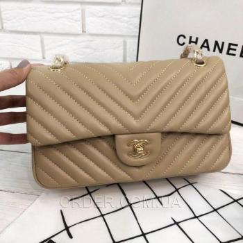 Женская сумка Chanel Chevron Flap Beige (9736) реплика