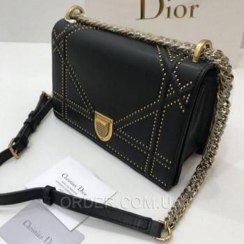Женская сумка Dior Diorama Studded Black (2308) реплика