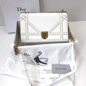 Женская сумка Dior Diorama Studded Off White (2307) реплика