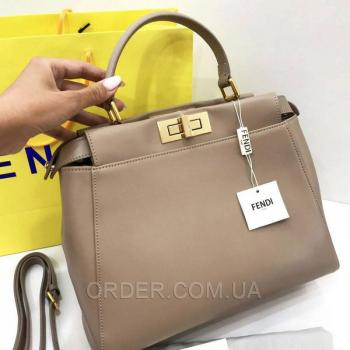 Женская сумка Fendi Peekaboo Large Dark Biege (2663) реплика