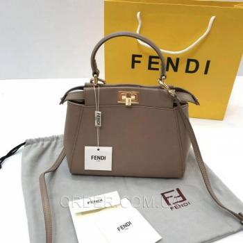 Женская сумка Fendi Peekaboo Medium Satchel Dark Biege (2654) реплика
