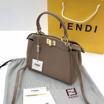 Женская сумка Fendi Peekaboo Medium Satchel Dark Biege (2654) реплика