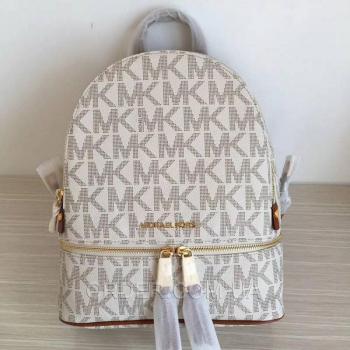 Женский рюкзак Michael Kors Rhea Signature Backpack Vanilla (5762) реплика
