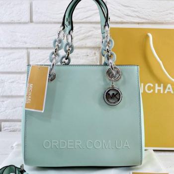 Женская сумка Michael Kors Cynthia Small Satchel Mint (5721) реплика