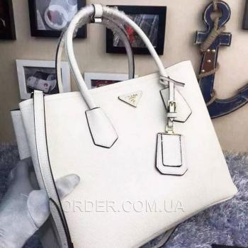 Женская сумка Prada Cuir Double Bag White (6923) реплика