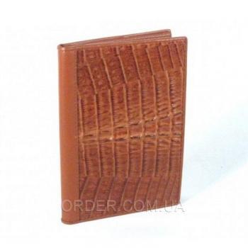 Обложка для паспорта и автодокументов из кожи крокодила River (NTCM 20-T Cognac)