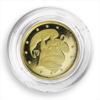 Золотая монета знака зодиака Дева