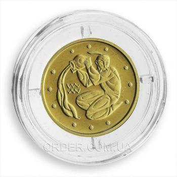 Золотая монета знака зодиака Водолей