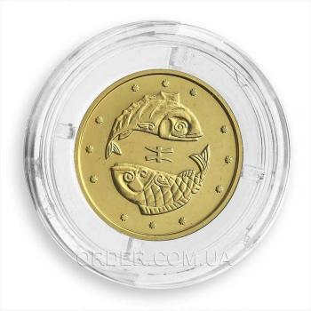 Золотая монета знака зодиака Рыбы