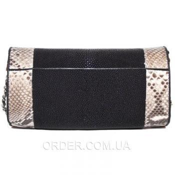 Женская сумка из натуральной кожи ската и питона (ST 301 PT Black/Natural)