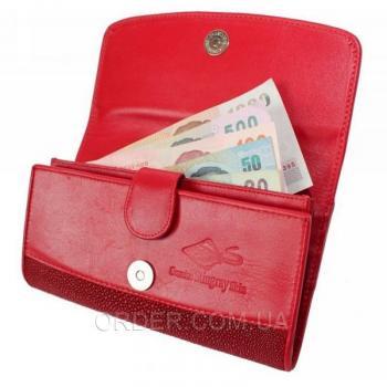 Женский кошелек из кожи ската (ST 52 Fire red)