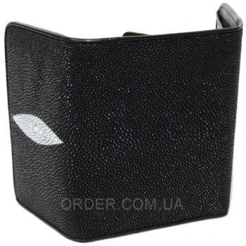 Женский кошелек из кожи ската (ST 63 Black)