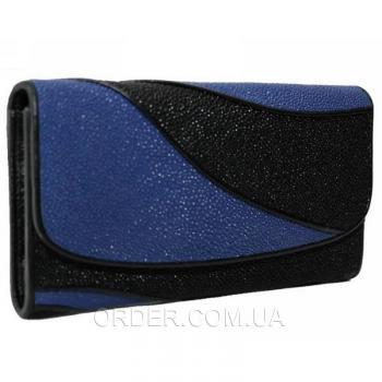 Женский кошелек из кожи ската (ST 52 DC Black/Dark Blue)