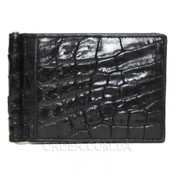 Зажим для купюр из кожи крокодила (ALNT 59B Black)