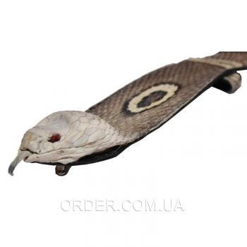 Мужской ремень из кожи кобры с головой змеи (105 CBB H Natural)