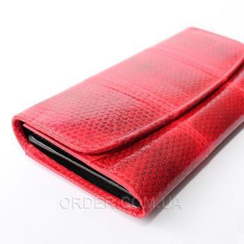 Женский кошелек из кожи морской змеи (SN 52 Fire Red)