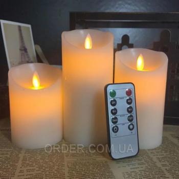 Светодиодные свечи с имитацией пламени и пультом ДУ (набор 3 шт.)