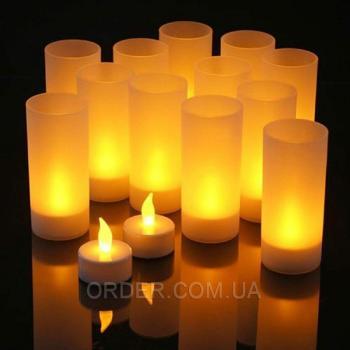 Светодиодные led свечи чайные с аккумулятором (набор 12 шт.)