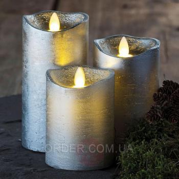 Светодиодные led свечи с имитацией пламени Tenna Silver (набор 3 шт.)