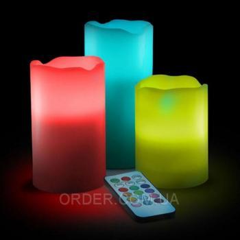 Светодиодные led свечи меняющие цвет с пультом управления набор (набор 3 шт.)
