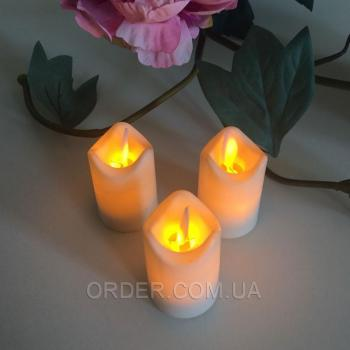 Светодиодные свечи чайные с имитацией пламени 3W44 (набор 6 шт.)