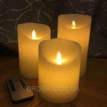 Светодиодные свечи с имитацией пламени и пультом управления D8H15 (набор 3 шт.)