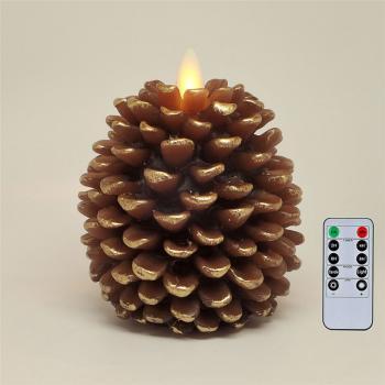 """Светодиодная свеча с имитацией пламени и пультом ДУ """"шишка"""""""