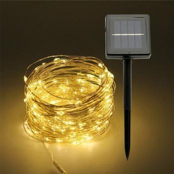 Светодиодная гирлянда уличная 100 LED на солнечной батарее (10 метров) WARM