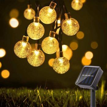 Светодиодная гирлянда уличная Crystal Ball 100 LED на солнечной батарее  (10 метров) WARM