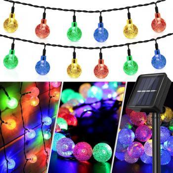 Светодиодная гирлянда уличная Crystal Ball 100 LED на солнечной батарее  (10 метров) цветная