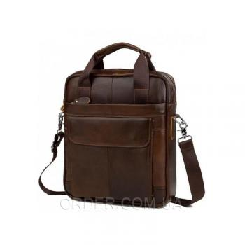 Коричневый кожаный мессенджер Tiding Bag (M38-8861C)