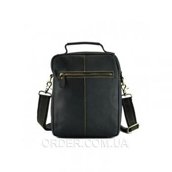 Черный кожаный мужской мессенджер Tiding Bag (t1171)