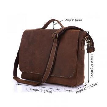 Коричневая кожаная мужская сумка Tiding Bag (7108R-1)