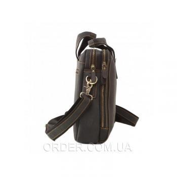 Черная кожаная мужская сумка Tiding Bag (7167A)