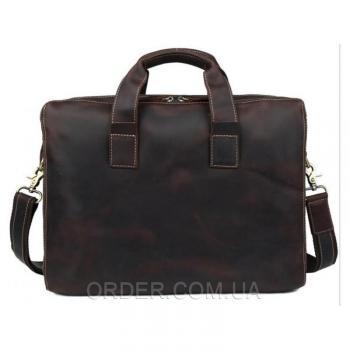 Коричневая кожаная мужская сумка Tiding Bag (7167R)